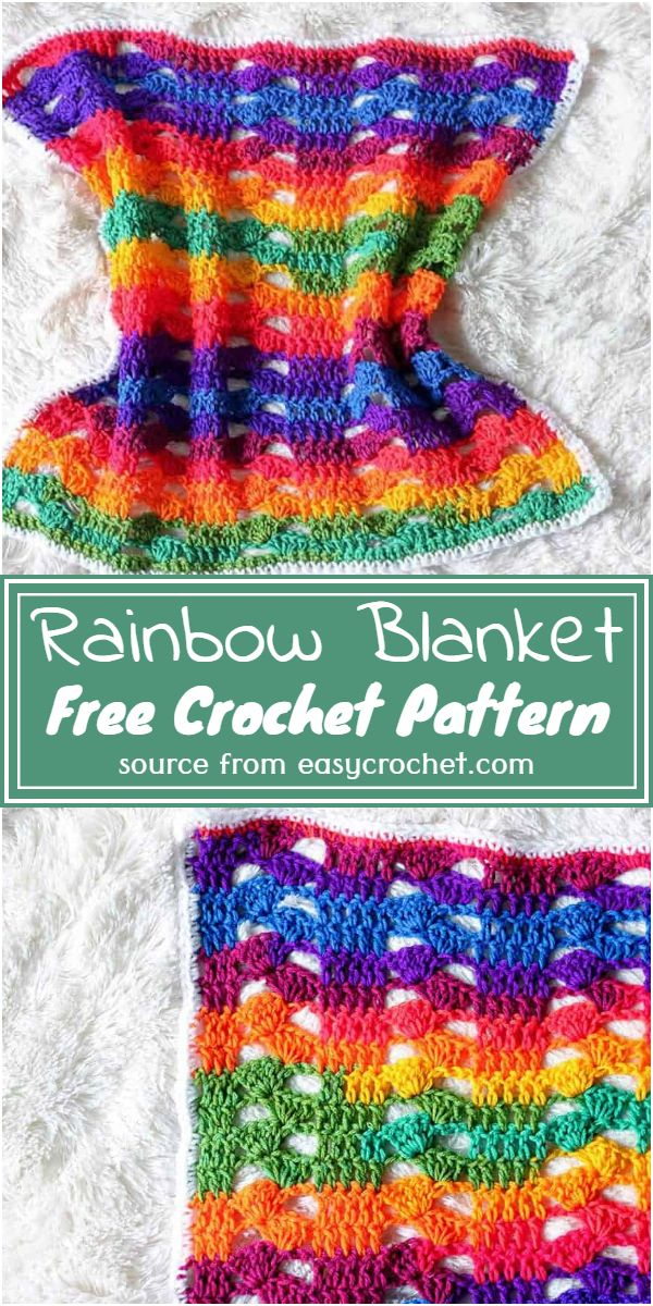 Free Crochet Rainbow Blanket Pattern