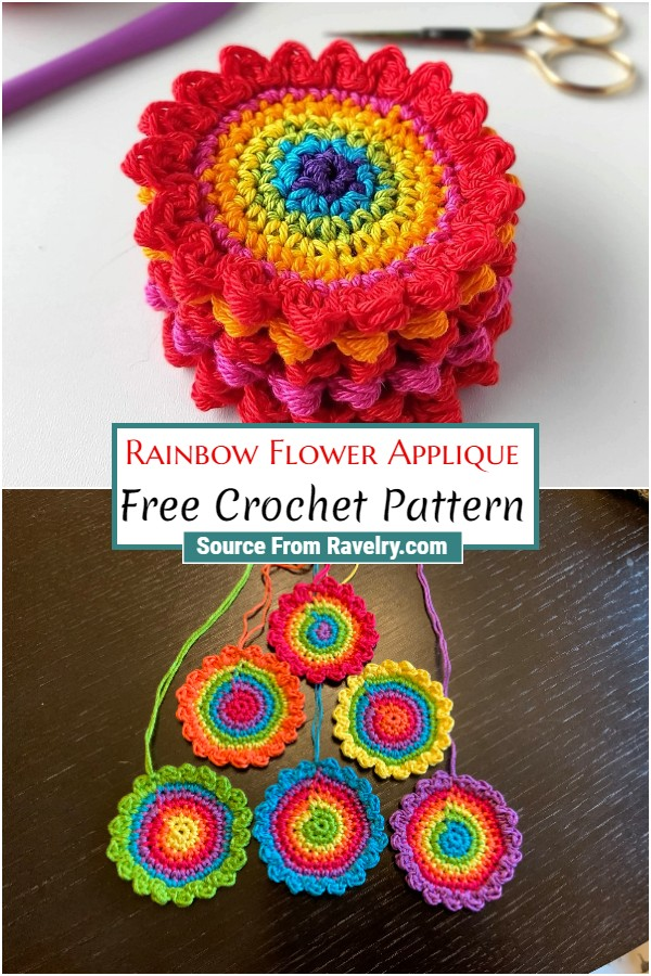 Free Crochet Rainbow Flower Applique