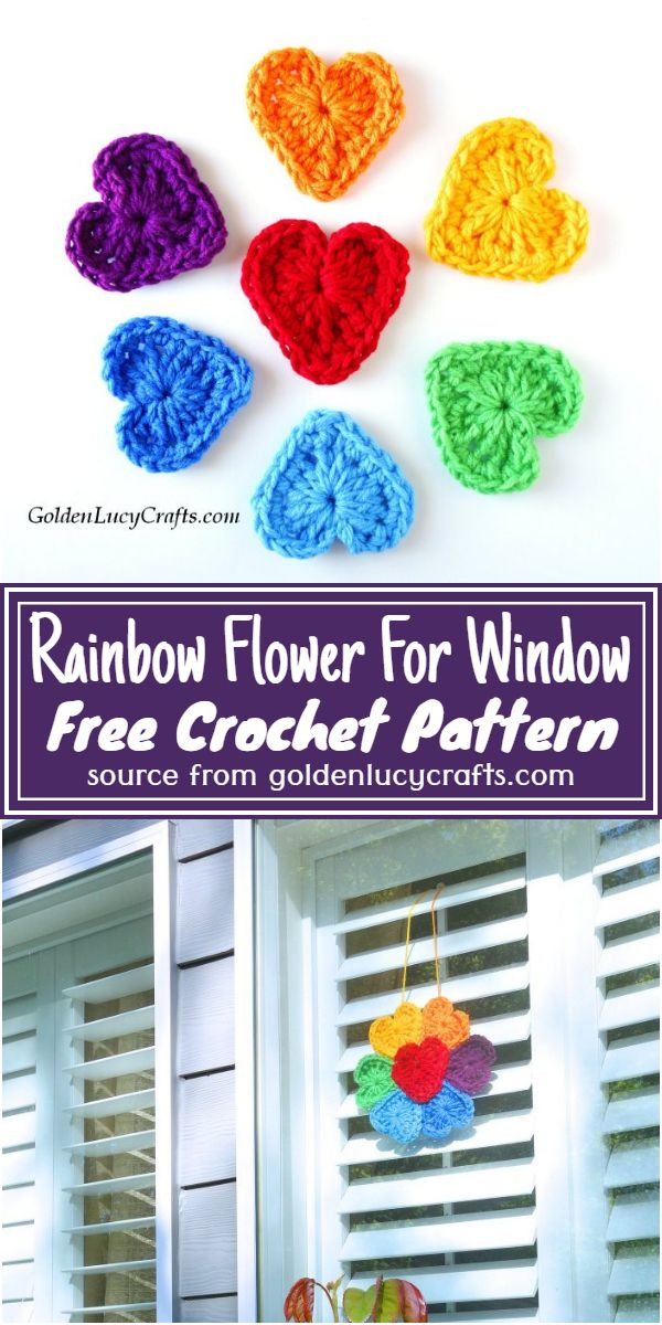 Free Crochet Rainbow Flower For Window Pattern