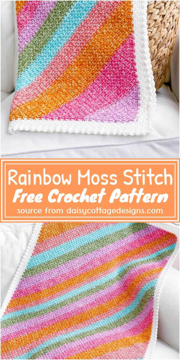 Free Crochet Rainbow Moss Stitch Pattern