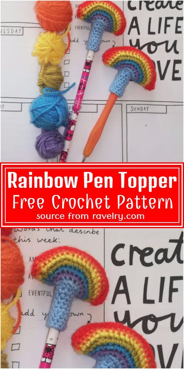 Free Crochet Rainbow Pen Topper Pattern