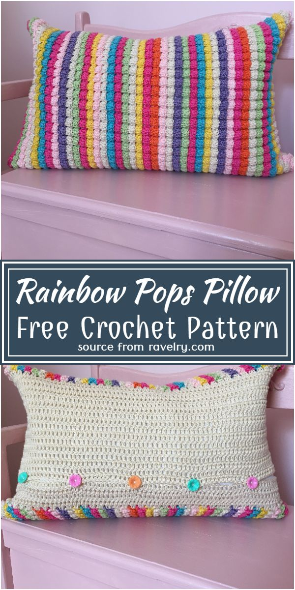 Free Crochet Rainbow Pops Pillow Pattern