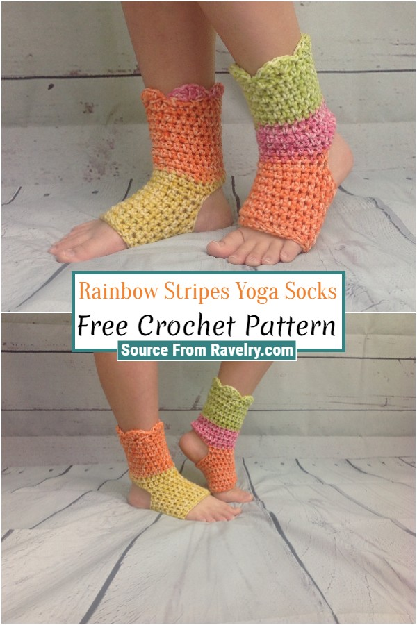 Free Crochet Rainbow Stripes Yoga Socks