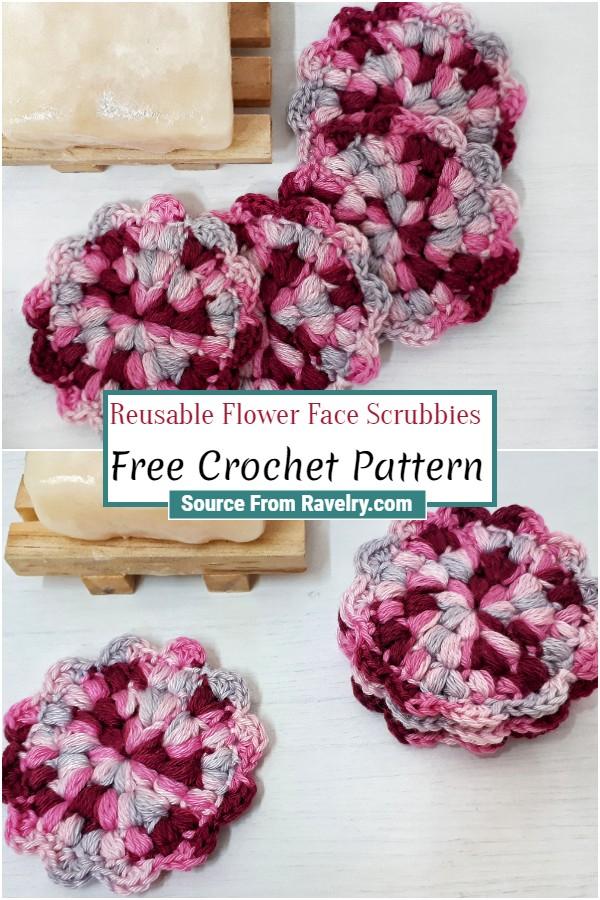 Free Crochet Reusable Flower Face Scrubbies