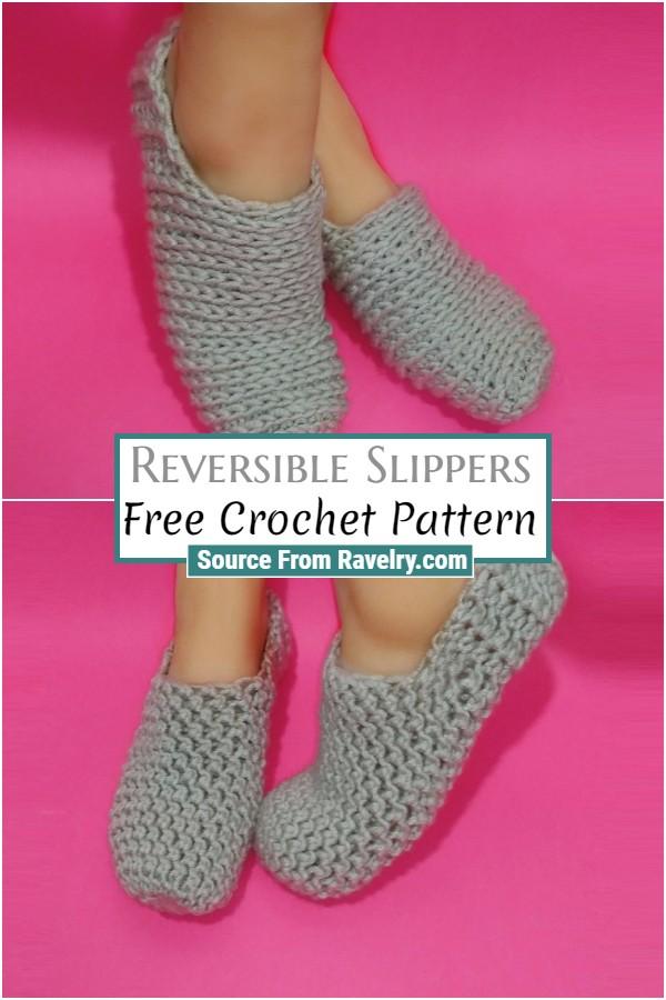 Free Crochet Reversible Slippers