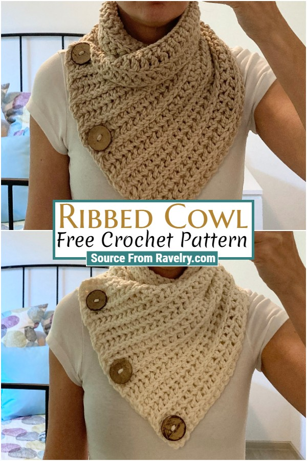 Free Crochet Ribbed Cowl