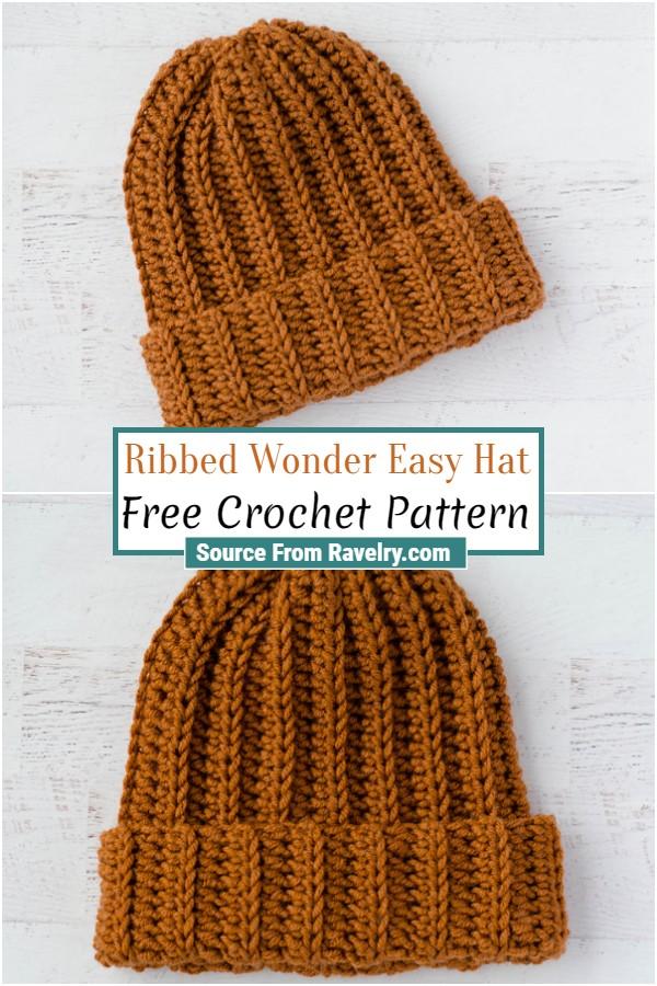 Free Crochet Ribbed Wonder Easy Hat