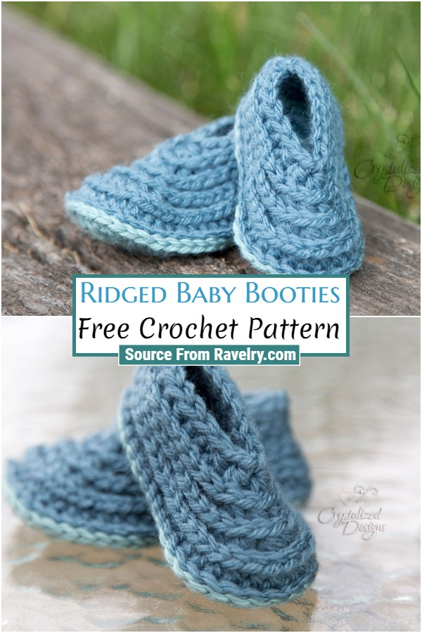 Free Crochet Ridged Baby Booties
