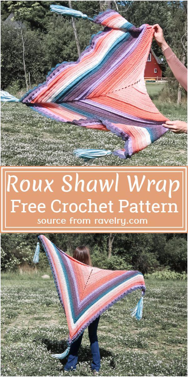 Free Crochet Roux Shawl Wrap Pattern