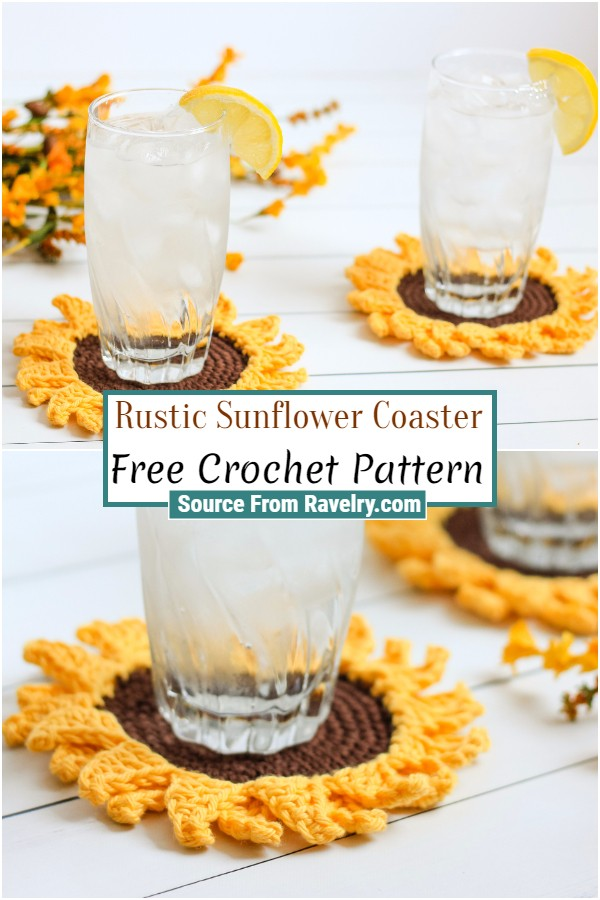 Free Crochet Rustic Sunflower Coaster
