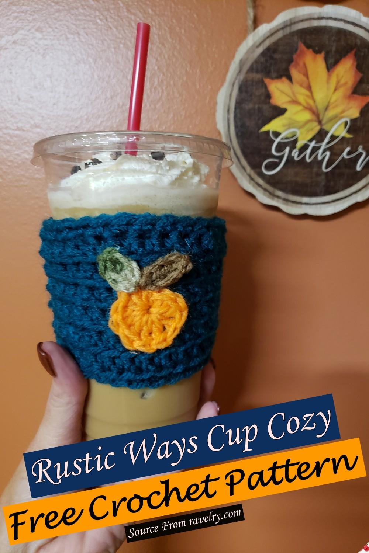 Free Crochet Rustic Ways Cup Cozy Pattern