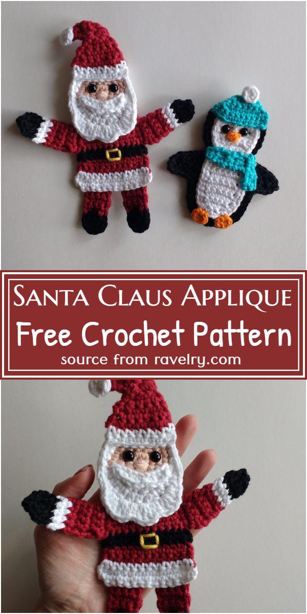 Free Crochet Santa Claus Applique Pattern