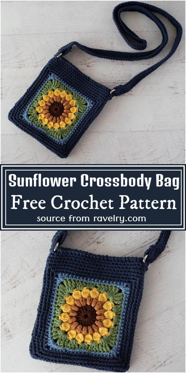Free Crochet Sassy Sunflower Crossbody Bag Pattern