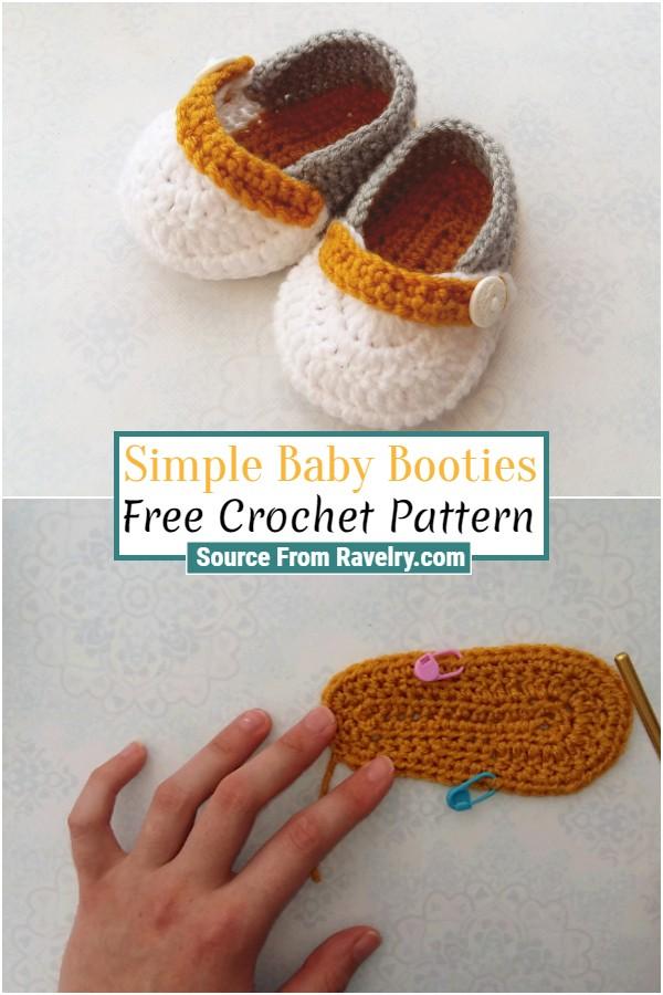 Free Crochet Simple Baby Booties
