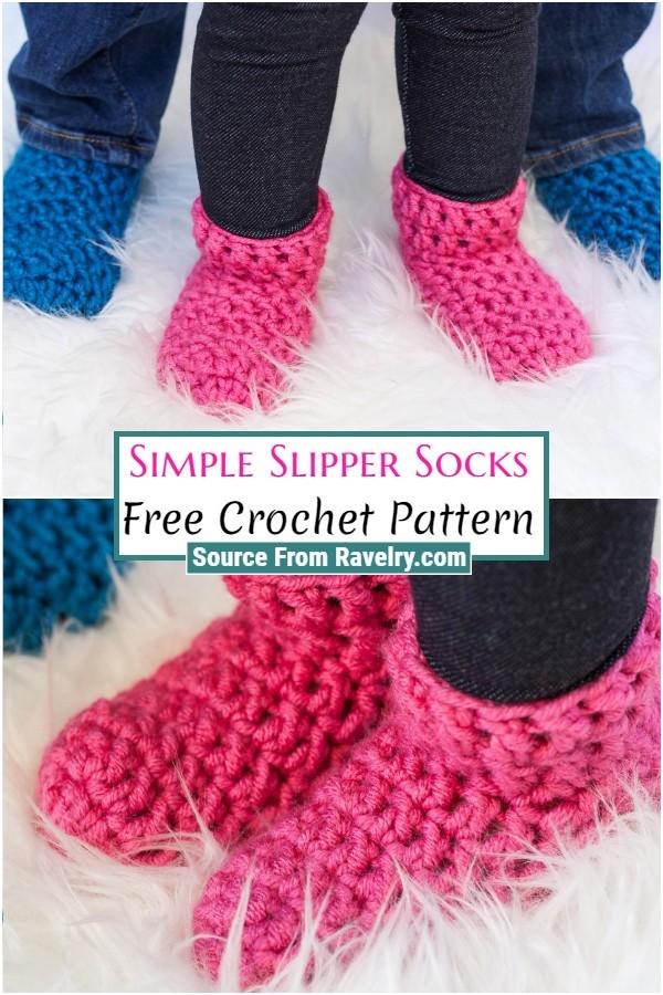 Free Crochet Simple Slipper Socks