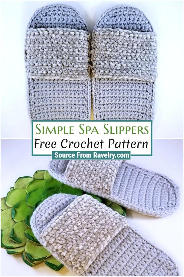 Free Crochet Simple Spa Slippers