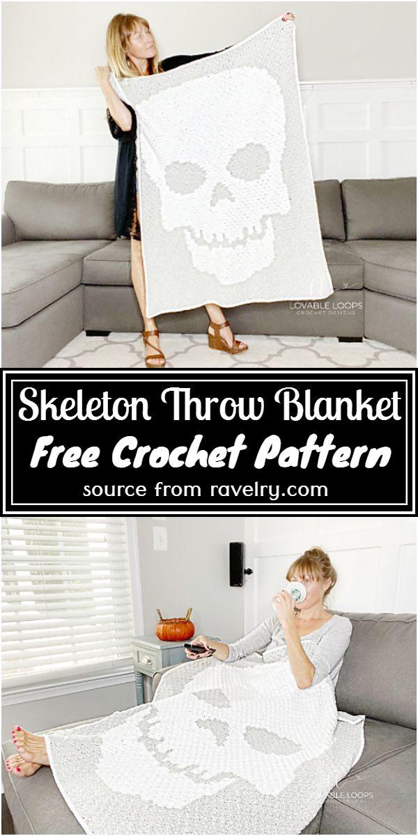 Free Crochet Skeleton Throw Blanket Pattern
