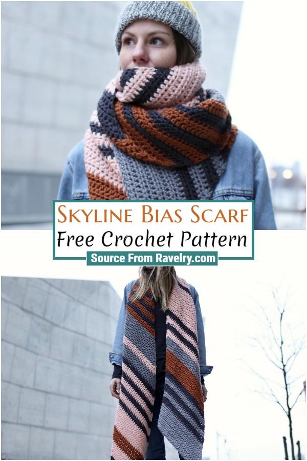 Free Crochet Skyline Bias Scarf