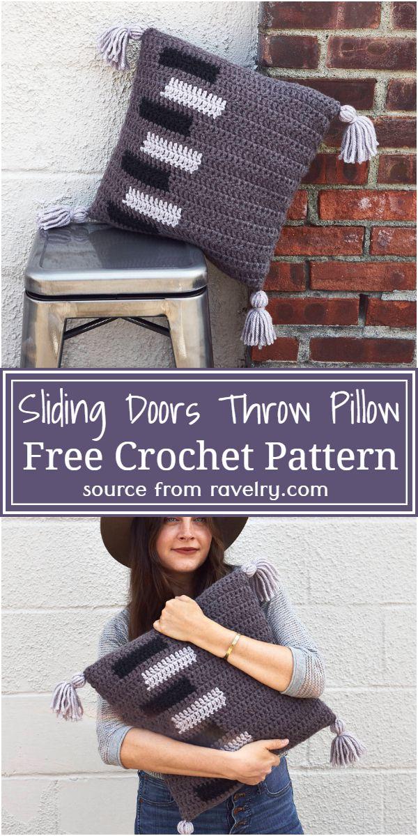 Free Crochet Sliding Doors Throw Pillow Pattern