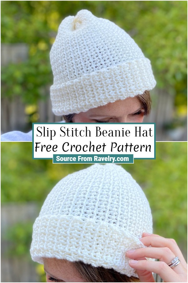Free Crochet Slip Stitch Beanie Hat