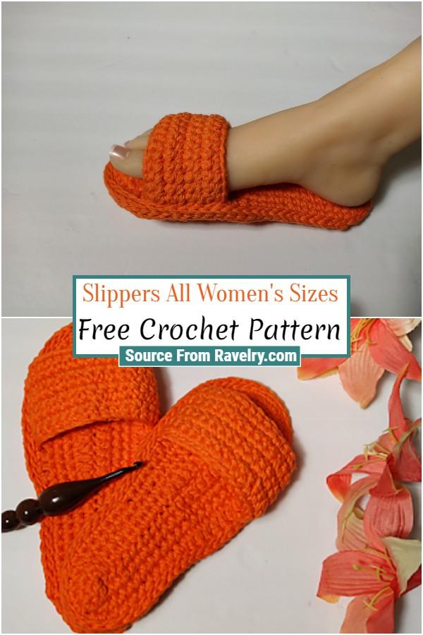 Free Crochet Slippers All Women's Sizes