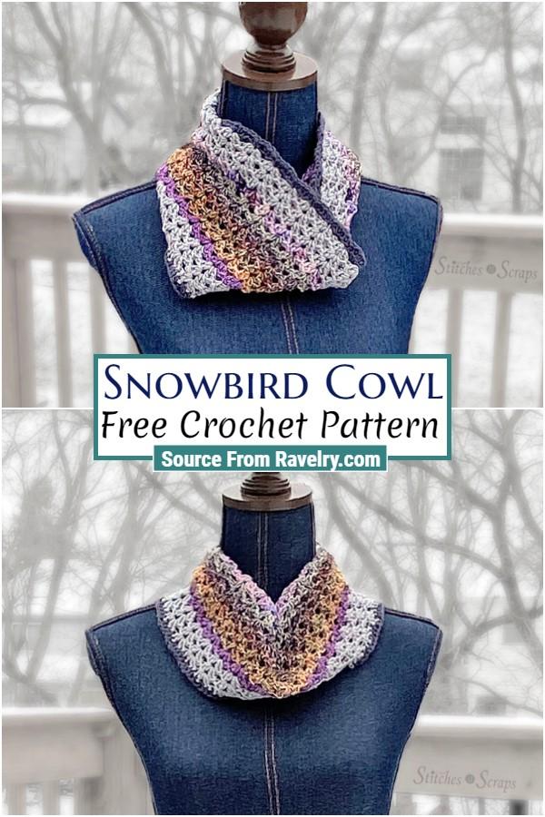 Free Crochet Snowbird Cowl