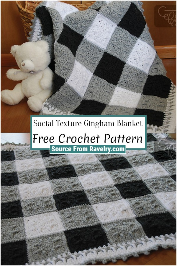 Free Crochet Social Texture Gingham Blanket