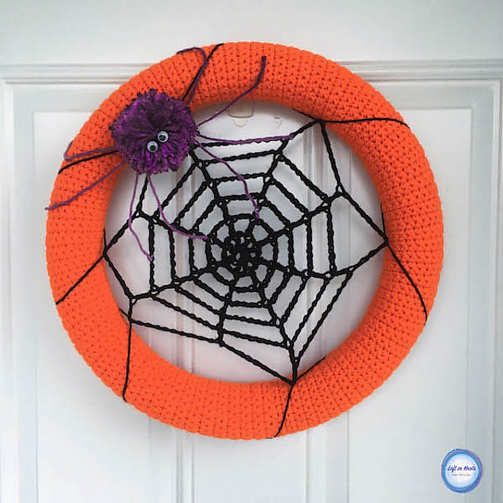 Free Crochet Spider Web Wreath Pattern