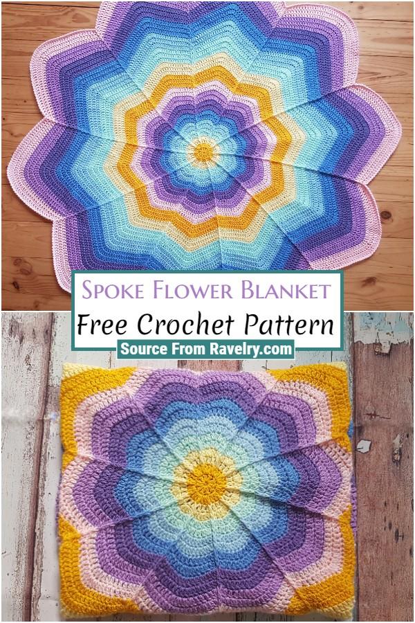 Free Crochet Spoke Flower Blanket
