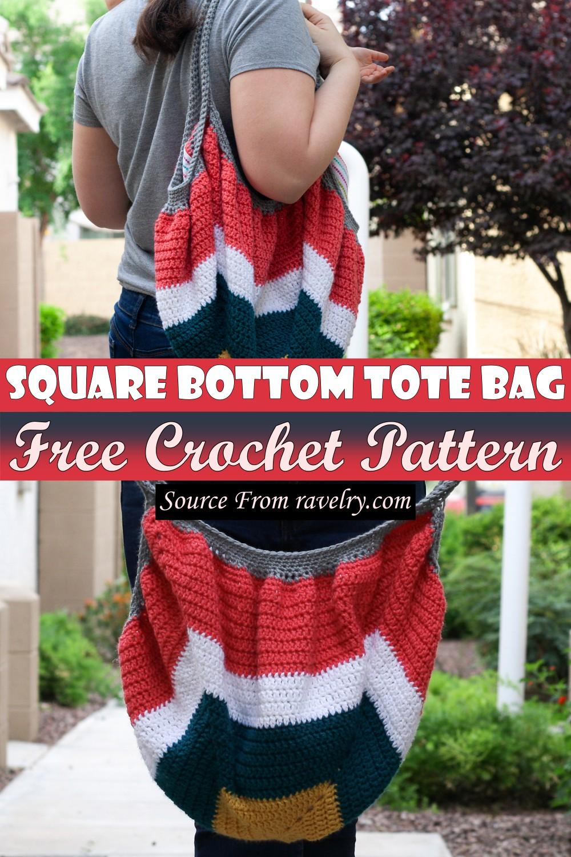 Free Crochet Square Bottom Tote Bag Pattern