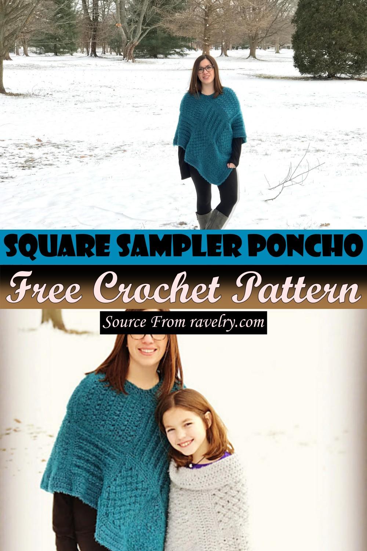 Free Crochet Square Sampler Poncho Pattern
