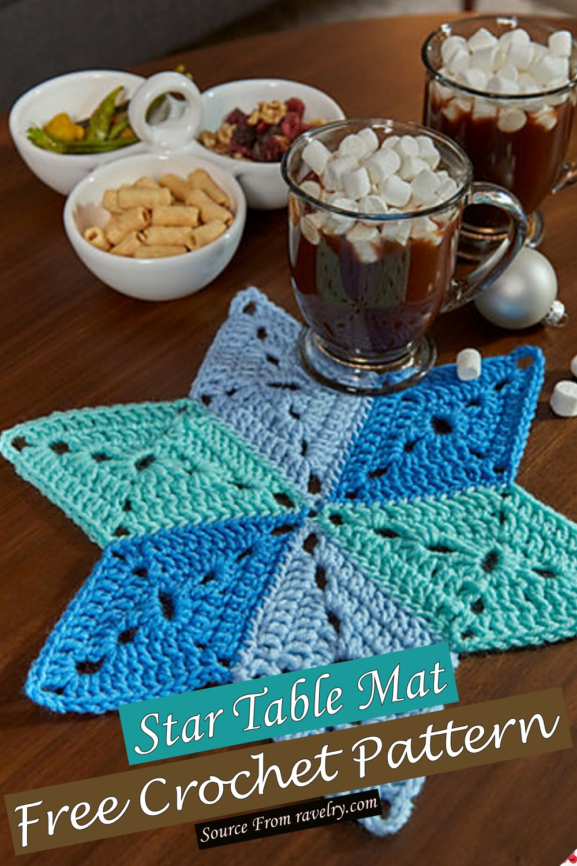 Free Crochet Star Table Mat Pattern