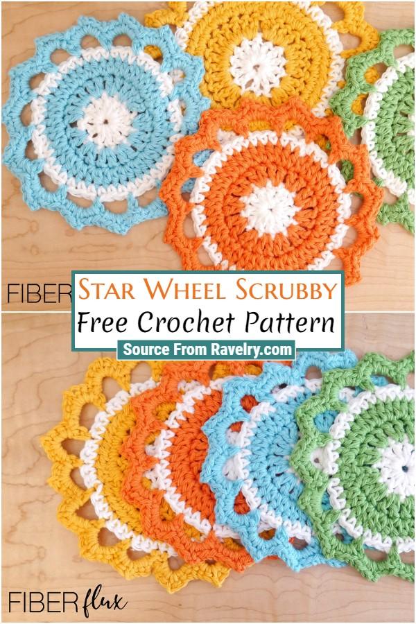 Free Crochet Star Wheel Scrubby