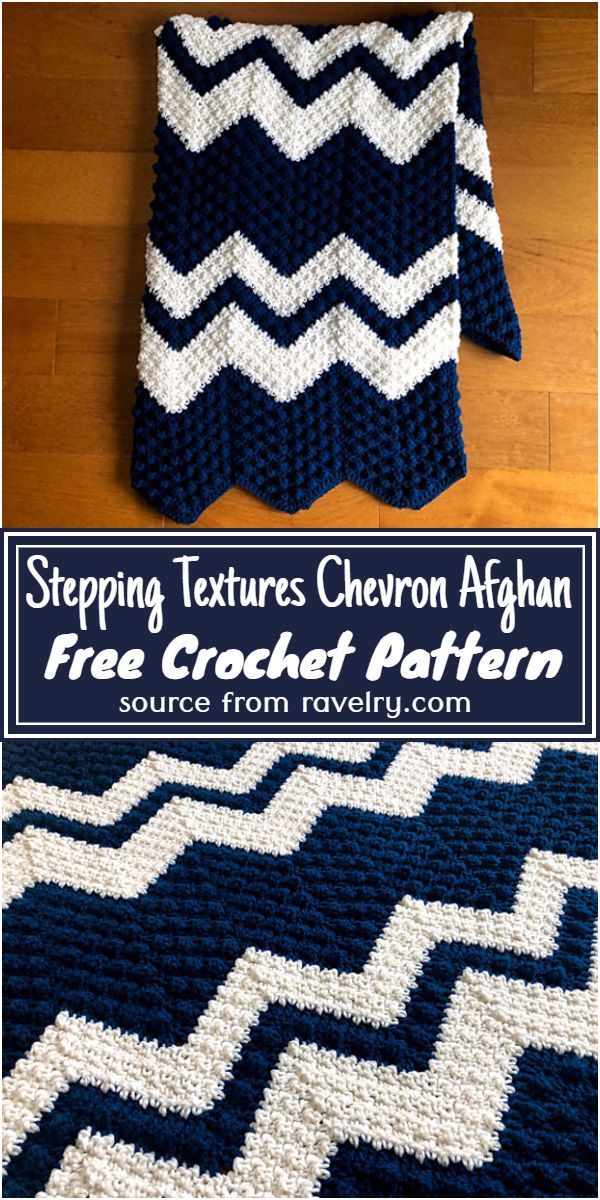 Free Crochet Stepping Textures Chevron Afghan Pattern