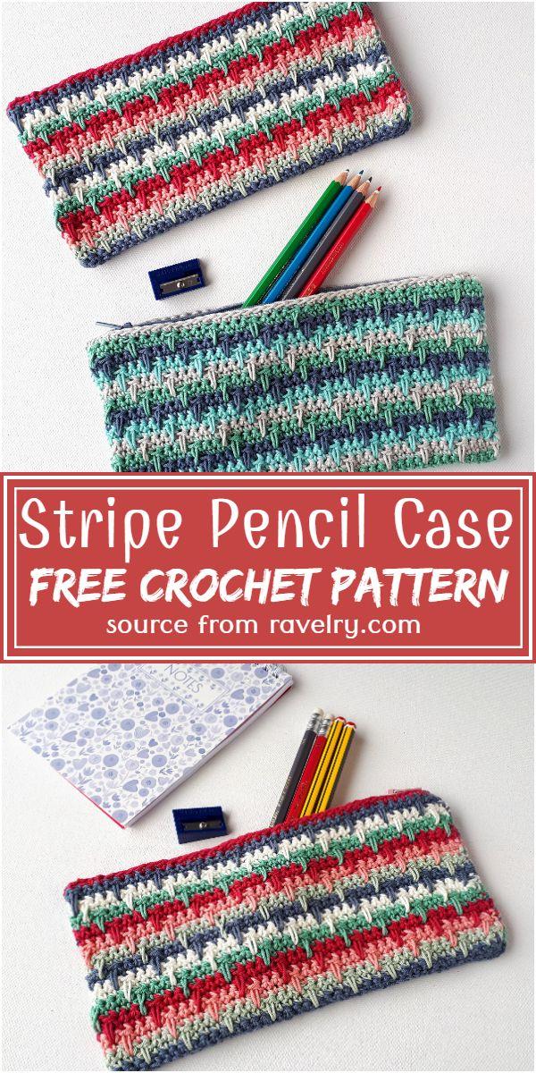 Free Crochet Stripe Pencil Case Pattern