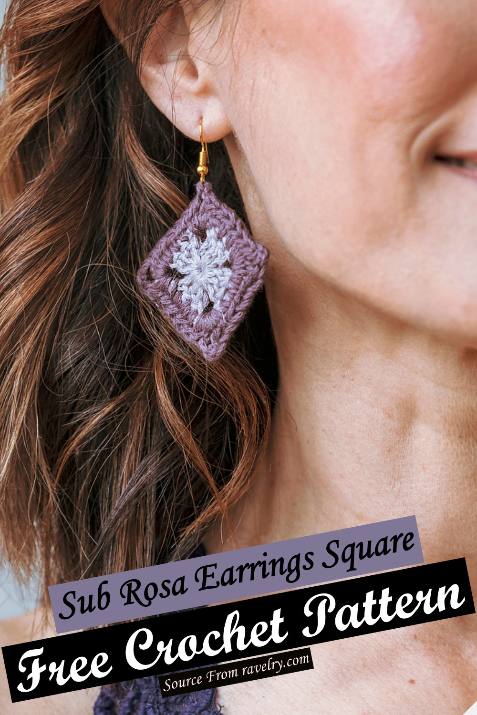 Free Crochet Sub Rosa Earrings Square Pattern