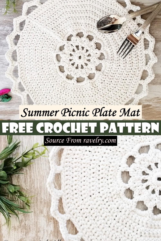 Free Crochet Summer Picnic Plate Mat Pattern