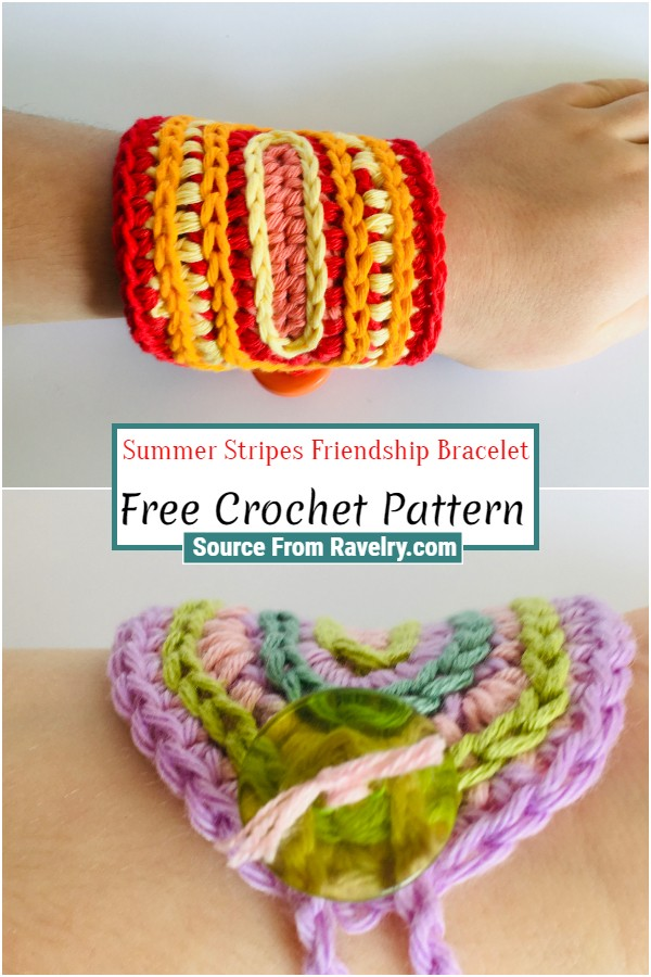 Free Crochet Summer Stripes Friendship Bracelet