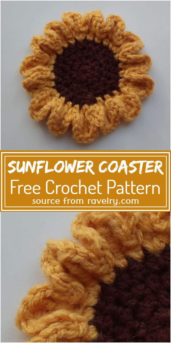 Free Crochet Sunflower Coaster Pattern