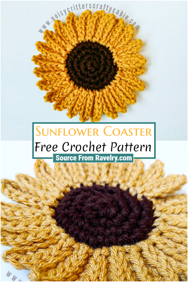 Free Crochet Sunflower Coaster