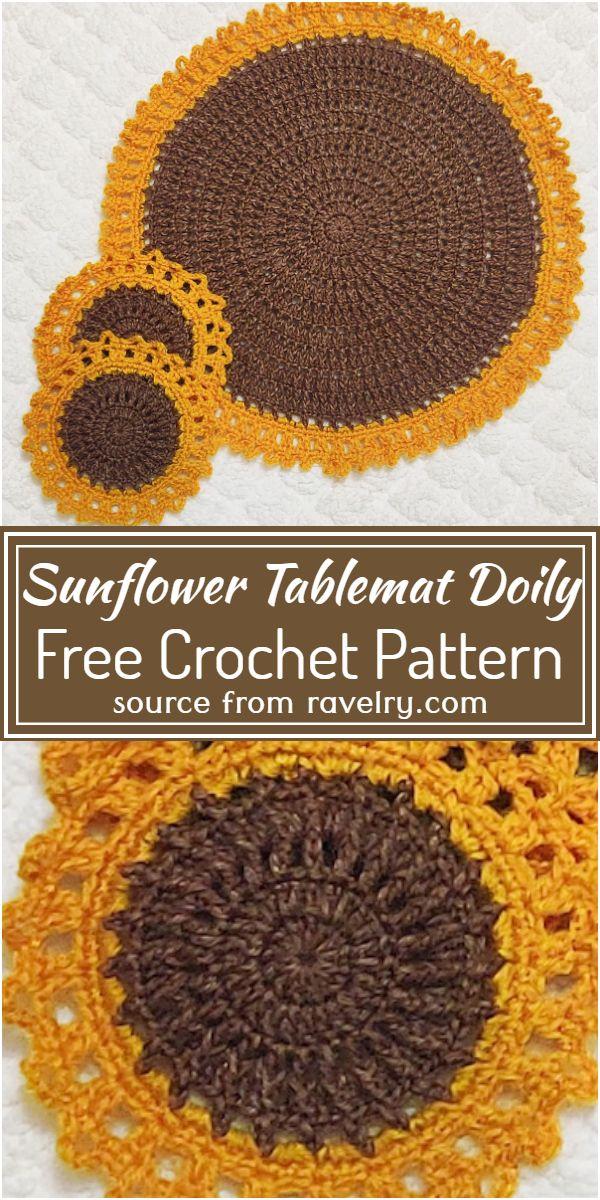 Free Crochet Sunflower Tablemat Doily Pattern