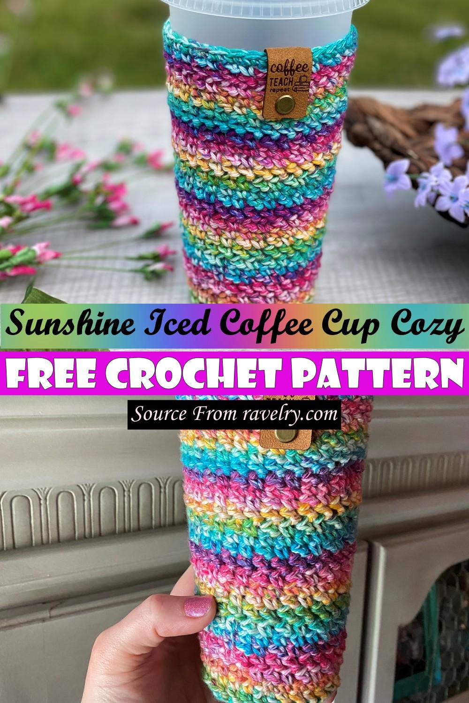 Free Crochet Sunshine Iced Coffee Cup Cozy Pattern