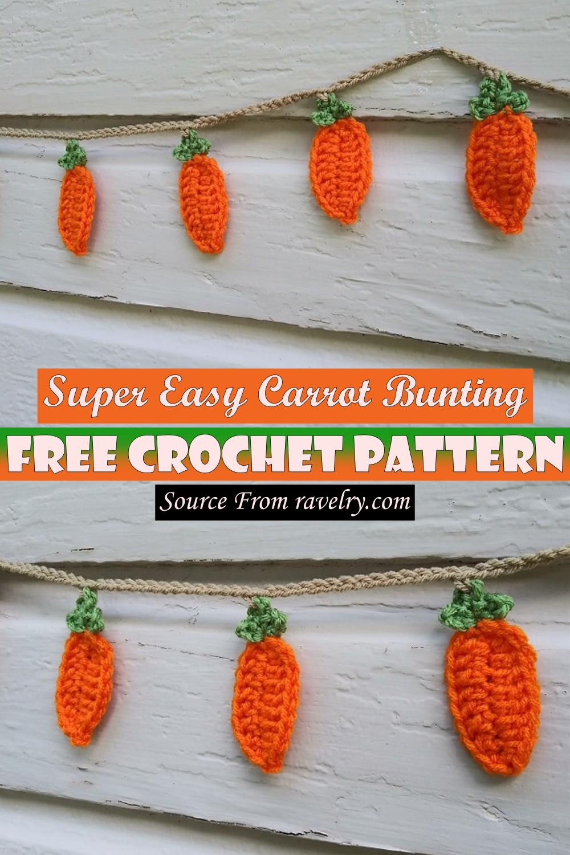 Free Crochet Super Easy Carrot Bunting Pattern