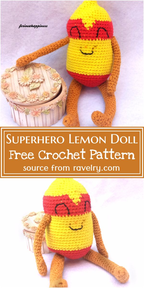 Free Crochet Superhero Lemon Doll Pattern