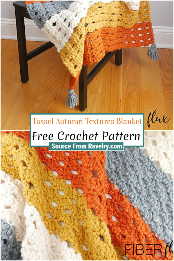 Free Crochet Tassel Autumn Textures Blanket