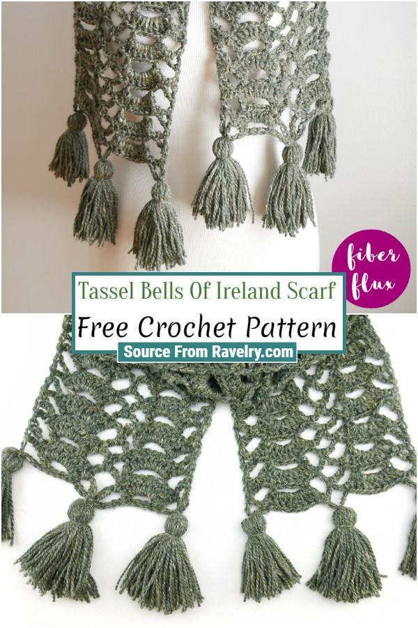 Free Crochet Tassel Bells Of Ireland Scarf