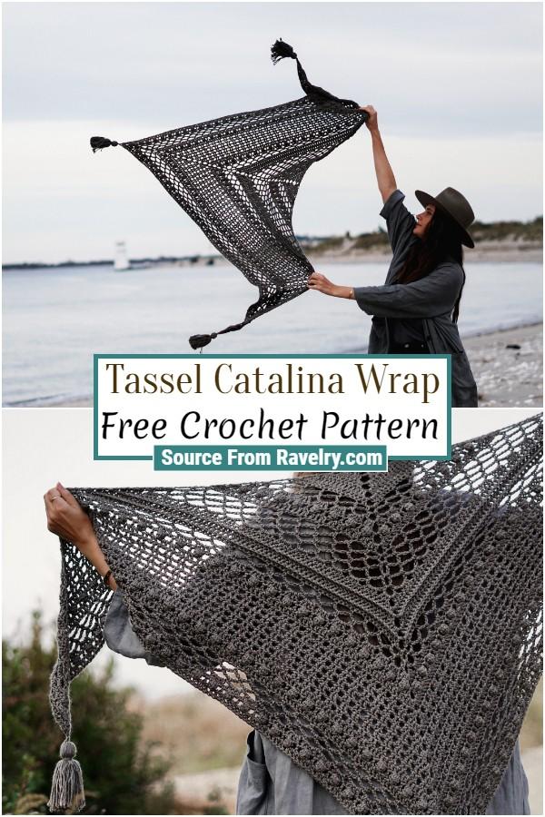 Free Crochet Tassel Catalina Wrap