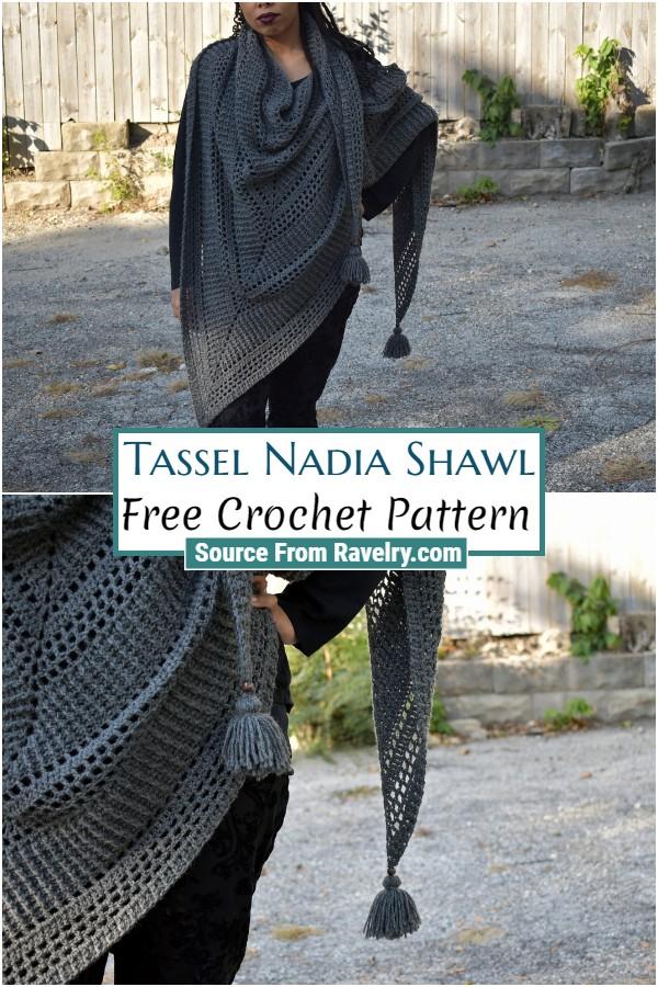Free Crochet Tassel Nadia Shawl