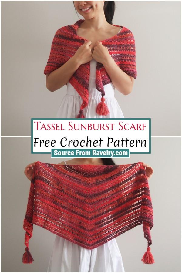 Free Crochet Tassel Sunburst Scarf