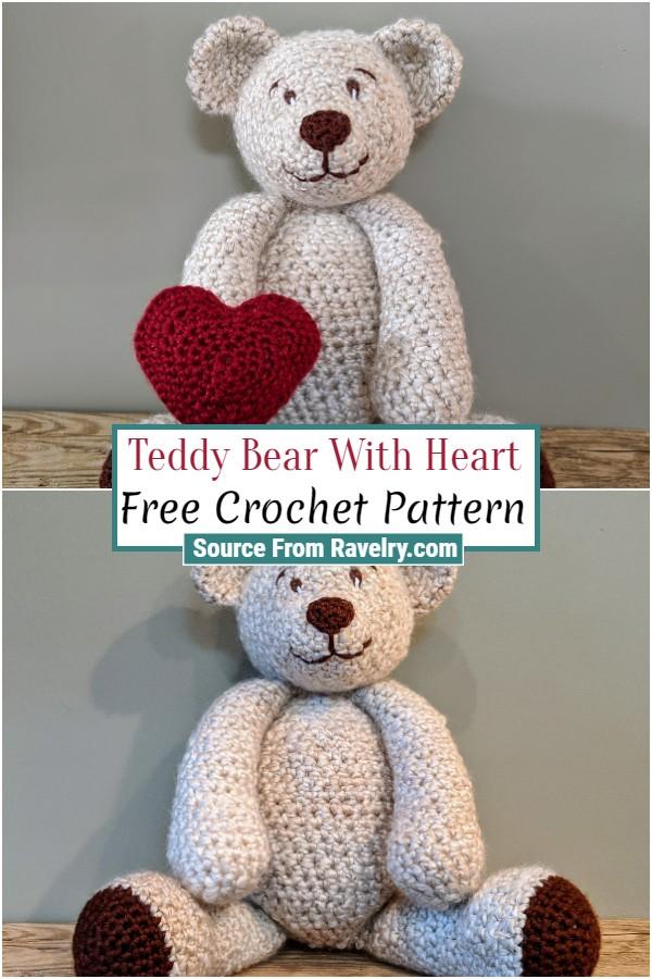 Free Crochet Teddy Bear With Heart
